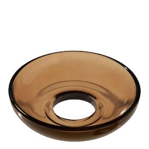 To stk Lumi kurvet lysmanchet i glas fra Holmegaard.  Farve: brun.  Ø 8 cm.  Design: Maria Berntsen.