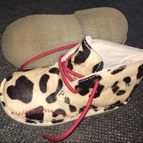 Nye Skofus ægte pels sko beige brun  giraf leopard