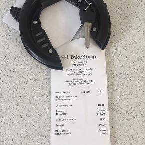 Cykellås, sort lås til cykel. Aldrig brugt. Godkendt lås fra cykelhandler. Ny pris med kvittering 250 kr.