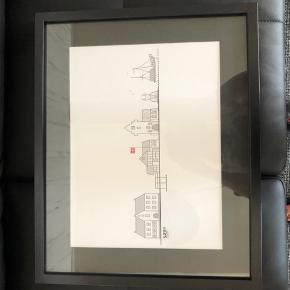 Streg tegning af Sæby af Rikke Pape, inkl ramme