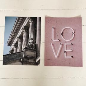 2 stk Desenio plakater typen Love og Museum i størrelsen 30x40. Aldrig brugt. Nypris 230