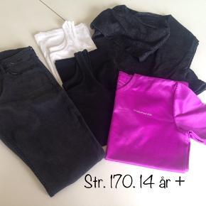 Tøj pakke str. 170 sælges samlet til 150 kr. - tøjet er som nyt.   Hættetrøje: 1 stk. Tanktoppe: 2 stk. Trænings T-shirt: 1 stk. Jeans: 1 stk.   Billigt og så kan det mixes smart!  Evt fragt 38 kr DAO.