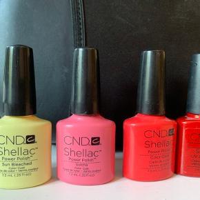 CND shellac i farverne: Sun Bleached, Gotcha, Tropix & Hollywood.   Pris er pr. Stk. rabat ved køb af flere