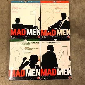Sæson 1-4 i Mad Men serien. Dvd'erne er set én gang, de er uden skader, er som nye.  Prisen er samlet for alle 4 sæsoner - sælges helst kun samlet.   Afhentes i Hellerup eller sendes med DAO 🌸