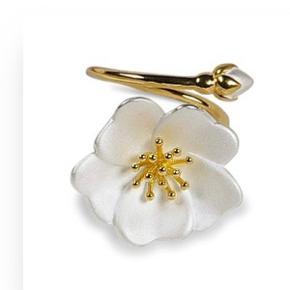 Den flotteste vild blomsterring fra Abrask.dk Den har ikke en størrelse da den er justerbar Sælges da jeg ikke får den brugt nok Den er guld og blomsten er hvid