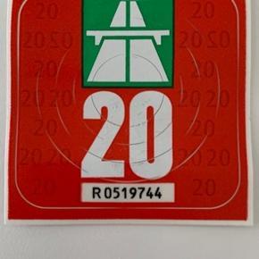 Vignette til kørsel i Schweiz. Købt i juli (300 kr) men ikke brugt pga ændrede planer.