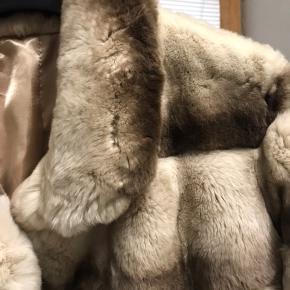 Lækker blød chinchilla champagne farvet rex kanin jakke. Aldrig brugt. Med tag. Kollektions prøve fra Italien. Nypris ca. 6.000kr.  Afhentes i Gentofte.  Kontant betaling.