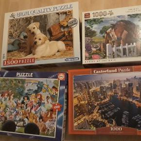 Forskellige puzzlespil, Alle brikker er i alle spil.  Hunde 1500 brikker,  gmb pæn stand,  50kr  Heste 1000 brikker,  lagt en gang,  30kr  Disney 1000 brikker,  lagt en gang,  50kr  Dubai at night 1000 brikker, gmb pæn stand,  40kr