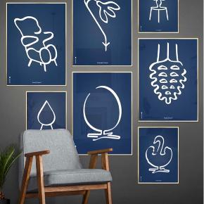 """5 plakater fra Brainchild """" vintergæk"""", """" flowerpot"""" """" bamse"""" """" myre"""" og """" dråbe"""" Det sidste billede er bare for at vise dem når de hænger oppe😊ellers har de ikke være i brug. Nypris pr stk 450 kr Sælges for 200 pr stk eller 2 for 325 eller alle 5 for 600 kr Hentes i Greve"""