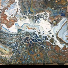 Eget maleri. Rustikt maleri med flere lag i smukke farver. 50x50 cm. på 4 cm. tykt lærred, betegnet til at hænge uden ramme