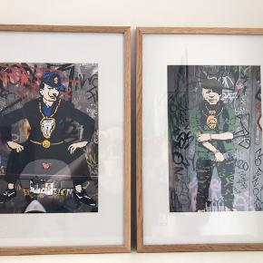 STREET ART fra BARCELONA Motiver ; 'portrætter' /parafraser af bl.a. Picasso, Dalí og Basqiat  1 stk. 550 kr 2 stk. 1000 kr 3 stk. 1400 kr 4 stk. 1800