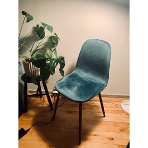 Velour spisebordsstole fra MyHome, 4 stk haves- købt i uge 1, er som nye. Nypris 599 pr stk. Sælges da farven ikke er den jeg troede. Sælges kun samlet.
