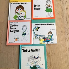 Sælger disse 5 Lotte og Totte bøger. De er skrevet af Gunilla Wolde. Titlerne på bøgerne: Lottes lillebror, Lotte hos tandlægen, Totte bager, Totte hos lægen og Totte bader. Sælges kun samlet. Da der mangler en side i Totte bader følger gratis med. De andre er som nye. Kommer fra et ikke ryger hjem. Kan afhentes i 2990 Nivå eller sendes mod betaling