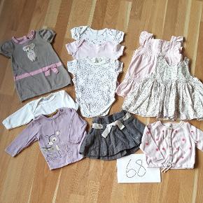 Fin tøjpakke til pige med 10 dele, som kan mikses på kryds og tværs. Noget som nyt. Mærker som Wheat, Aya Naya, Name it og H&M