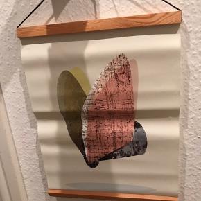 Retro plakat med træpaneler. Måler 30 x 39 cm