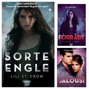 """1-3 bog i serien """"Sorte Engle""""  Sorte Engle af Lili St. Crow er første bind i en ny spændende serie om zombier, varulve og vampyrer.  Dru er 16 år gammel og boede sammen med sin far, der var dæmonjæger, indtil han blev forvandlet til en zombie. Nu må Dru forsøge at overleve i en fjendtlig verden med hjælp fra klassekammeraten, den halve varulv Graves og Christophe, der er halvt vampyr.  Twilight med et mørkt twist.  Normalpris 600 kr (200 pr. Stk) ved Saxo."""