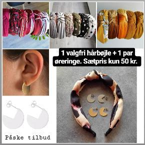 1 stk. Valgfri hårbøjle + 1 par øreringe i guld eller sølv. Sætpris 50 kr.  Frit valg mellem alle hårbøjler på min profil. Øreringe som foto.   Plus porto: 10 kr med postnord. 33 kr med DAO.    Hår Hårbånd Hårpynt hårbøjle hårbøjler Spænder pandebånd accessories smykker ørestikker ørestikkere cirkel ørering hoops creoler cirkel øreringe