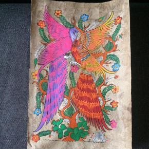 Unikt håndmalet billede, plakat, medbragt fra Mexico. Billedet er malet på selvlavet genbrugspapir. Stærke smukke farver. Mål: 59x40.  Har to andre af disse håndmalede billeder.  Billede, plakat Farve: MULTI