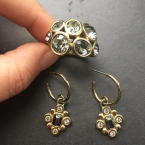 Flot sæt bestående af en ring og øreringe  Smykkesæt Farve: Gylden Oprindelig købspris: 800 kr.