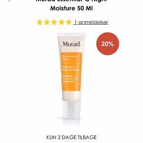 GRATIS FRAGT! Billigere bliver det ikke!   Murad natcreme til ansigtet. Nypris 700 kr.   Stå op til en yngre hud. Vores patenterede Skin Repair System with Co-3™ øger hudens elasticitet ved at fremme kollagenproduktionen og virker genopbyggende. Antioxidanten C-vitamin neutraliserer de skadelige frie radikaler, mens bassiasmør tilfører huden øjeblikkeligt fugt og gør den silkeblød.