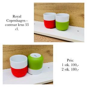 Royal Copenhagen - contrast krus 33 cl.   Pris: 1 stk. 100,- 2 stk. 180,-   Se også over 200 andre nye produkter, som jeg har til salg herinde :-)