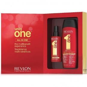 Indeholder: 1 stk. Uniq One All In One Treatment 150 ml 1 stk. Uniq One All In One Conditioning Shampoo 300 ml  Uniq One All In One Shampoo Set er det ultimative hårpleje sæt, til en yderst skarp pris. I dette sæt får du bestselleren Uniq One All In One Treatment sammen med Uniq One All In One Conditioning Shampoo. Begge produkter indeholder en masse plejende egenskaber, der sikrer at dit hår bliver silkeblødt og velplejet. Produkterne kan bruges til alle hårtyper.