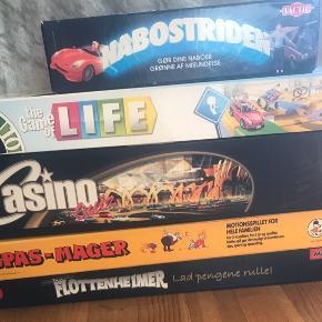 Sælger forskellige spil  Nabostriden 50,- The game of life 75,- Casino quiz 75,- Spas-mager 25,- Flottenhejmer 50,-