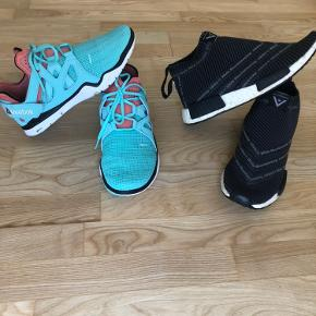 Fede sko, reebok er prøvet på og gået med en time str. 40 til 199.- SOLGT!  Adidas city socks nmd brugt et par gange men er lidt for store til mig. (Små i str.)  550.-