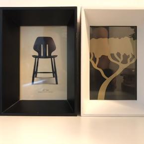 2 stk dekorative egetræsrammer med glas. Den ene sort og den anden hvid. H = 17,5, B = 12,5, D = 5 cm. Fra ikke ryger hjem. Fri levering i Kbh / Frb.