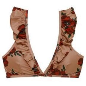 Bikini sæt med roser og flæser  Som nyt