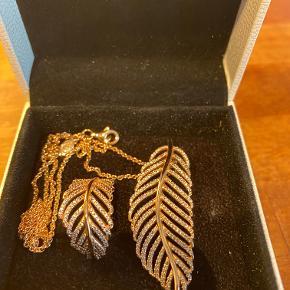 Halskæde (46 cm ) og ring i str 58 i rosaguld fra Pandora, kun brugt få gange.