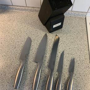 Knivsæg  5 knive inkl knivblok