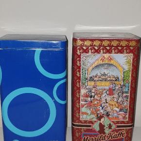 Fine opbevaringskasser fra irmas cirkel kaffe og merrild kaffe.  Sælges samlet for 149  kr Pr stk. 100 kr  🌻🌻