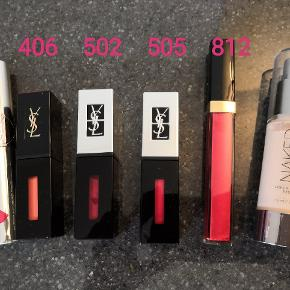 Ubrugt YSL læbe farve 8, 408, 502, 505 Chanel 812 lip gloss Urban decay foundation  100kr per stk