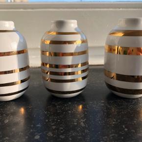 Kähler omaggio mini-vase sæt med 3 str. hvid med guld (8 cm høje) - som nye kun stået til pynt