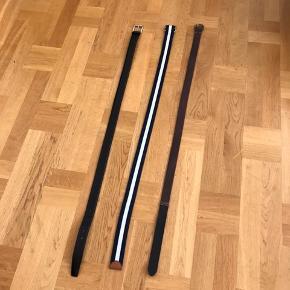 Lækre bælter der stort set aldrig er blevet brugt. Størrelserne er 85 og 90.  Bælterne er i mærkerne Prada, og Ralph Lauren. Det sorte er Prada og er i størrelse 90.