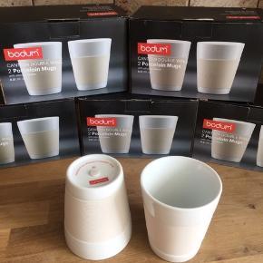 Ubrugte Bodum kopper i hvidt porcelæn.  10 kopper for 359 kr eller 80kr for to kopper.