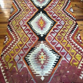 Vintage kelim. Mål: 160 x 305 cm. Stort, smukt, håndvævet, anatolsk kelimtæppe. Unika fra 60'erne.