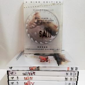 SAW 1-7 DVD  gyser   Pris: 25,- stk. plus porto. Fast pris Sender med DAO  Saw 3+5+6+7 er solgt  Saw 1 - Death is a shortcut Saw 2 - Oh yes, there will be blood Saw 3 - You haven't seen anything yet SOLGT Saw 4 - It's a trap Saw 5 - You won't believe how it ends SOLGT Saw 6 - The game has come full circle SOLGT Saw 7 - The final Chapter SOLGT