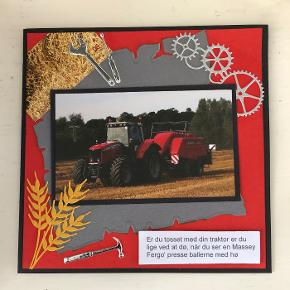 Kort med traktor og tekst om traktor på. str. 14,8 x 14,8 cm, pris 30 kr. + evt. porto. alle mine kort er selvfølgelig inkl. kuvert.
