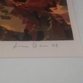 Ukendt kunstner. Fra 2002. Størrelse er 51 cm X 66 cm. Hvad det forestiller er åben for fortolkning 😊