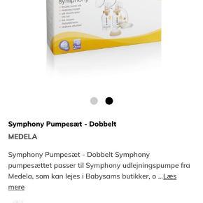 Medela Symphony Pumpesæt - Dobbelt. Fungerer som det skal. Indskriptionen på flaskerne er dog slidte - derfor den lave pris 🤓 Passer til Medela's Symphony brystpumpe.