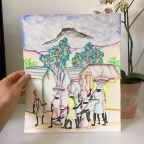 Unika Akvarel maleri i de fineste pastelfarver. Købt på Haiti for små 30 år siden. 27x32cm