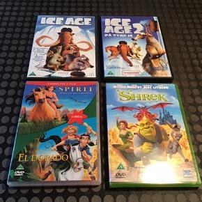 9 stk. DVD'er fra Disney og Dreamworks sælges samlet for 100 kr.  Bambi De Frygtløse Dinosaurerne Lille Kylling ICE Age 1+2 Spirit El Dorado Shrek