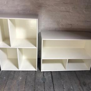 Bogkasser i solid træ og hvidmalede. De har brugsspor eller patina om man vil og kan sagtens bruges som de er. Alternativ kan de nemt slibes let og males en ønsket farve. Det har jeg selv gjort i sin tid. De måler begge 61x89x36 cm. Prisen er for begge.
