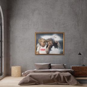 """""""Shhh"""" Maleri med målene 137x105x4 cm. Indrammet i glas, med gammel guld ramme.  Malet med akryl, spray og akryltusch 🎨 Pris er uden forsendelse Tager også imod bestillinger efter egne farve- og størrelsesønsker 🍭🙏🏽 ROAR"""