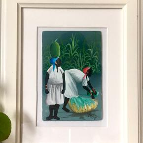 Haitiansk miniature maleri. Haiti er kendt for sine oliemalerier med unikke farvekombinationer. Maleriet er malet på masonitplade af Elie N. Mål: 10x15cm. Inc ramme. Unika kunstværk.