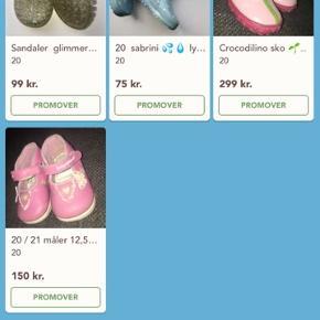 Sandaler gummistøvler sko hjemmesko lyserød  hvid 20 priser står på billedet Glimmer sandal og hvide sko er solgt
