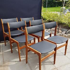 6 stk spisebordsstole designet af Erik Buch for anderstrup møbelfabrik. Sælges samlet Pris 2100 kr