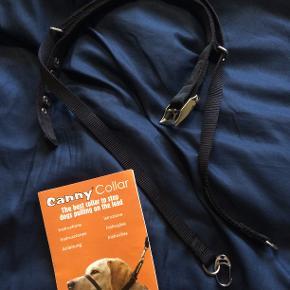 Sælger denne hundegrime fra mærket Canny Collar. Grimen virker på den måde, at hvis din hund trækker får den et blidt tryk på næseryggen. Når hunden holder op med at trække, frigøres trykket med det samme.  Det er derfor let for hunden at forstå sammenhængen mellem 'tryk' og frigørelsen af trykket.  Nyprisen var 499kr. brugt en enkelt gang.